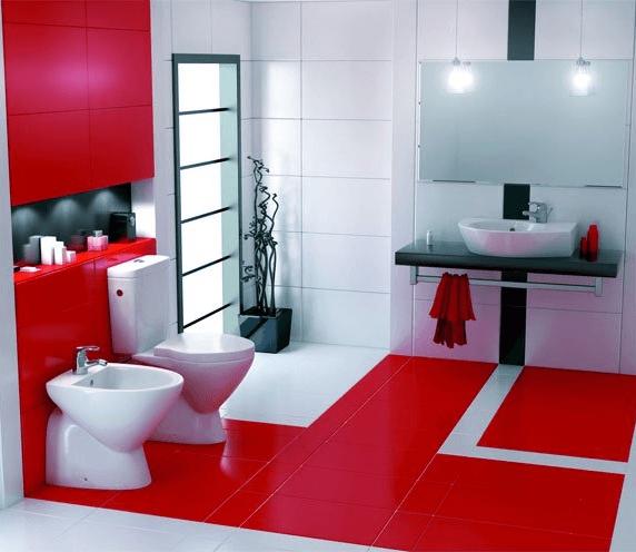 Baño Blanco Con Rojo: con un toque de color rojo en la pared que contrasta con este estilo