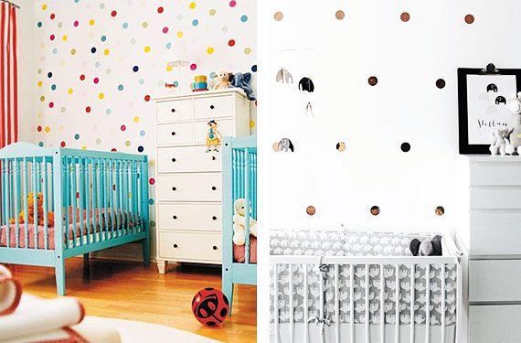 dormitorio decorado en lunares