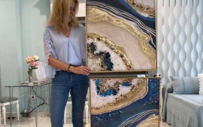 colección  cuadros decorados con minerales